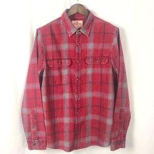 Hollister Distressed Plaid Long Sleeve Top XL NWT